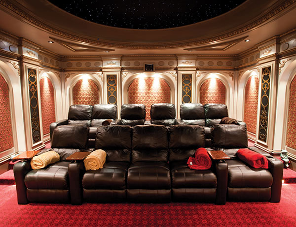 Max Hockenberry's Theo Kalomirakis themed home theater also won Gold for  the Best Home Theater in the $75,000 to $150,000 category.